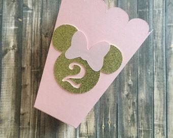 Minnie Mouse Treat Box // Mini Popcorn Box // Favor Box // Light Pink