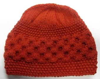 Orange Alpaca Merino Wool Hat | Handknit Orange Hat | Irish Wool Hat Orange | Luxury Wool Hat