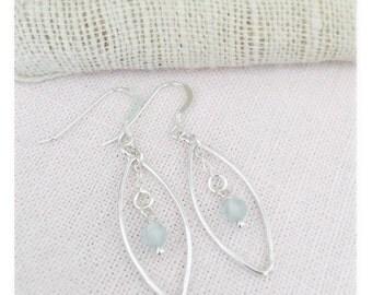 Sterling Silver & Aquamarine gemstone Chandelier Earrings