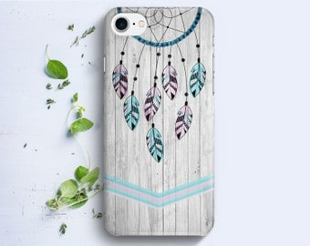 iPhone Case - Dreamcatcher Feathers on Wood Texture - iPhone 4/4s iPhone 5 iPhone 5c iPhone 5s iPhone 6 iPhone 6s iPhone SE iPhone 7