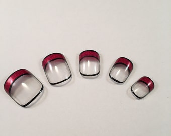 Outlined Red French Tip False Nail Set