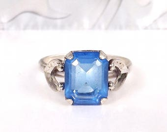 Antique Sterling Silver Ring Gemstone Signed Vargas Art Deco Blue Stone Size 7