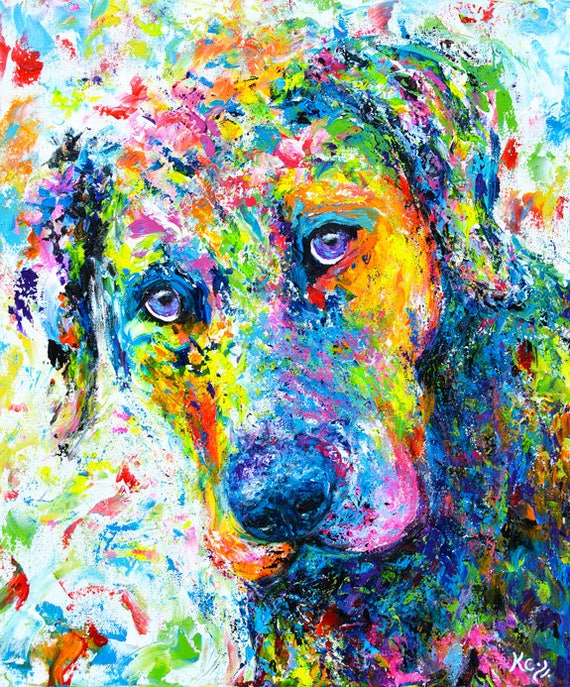 "Labrador Retriever Painting. Dog Wall Art. Dog Painting. Colorful Dog Art. Lab Art Dogs. Original Acrylic Painting ""Rosebud""."