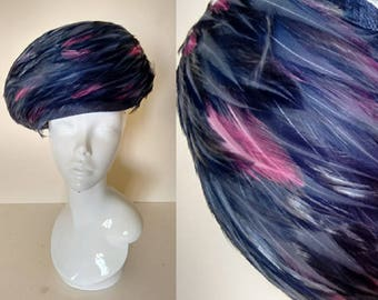 Vintage 60's Navy Blue and Hot Cerise Fuchsia Pink Feather Turban Pillbox Hat