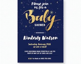 Starry Night Baby Shower Invitation, baby shower invite, baby shower, Sparkling glittery baby shower invitation