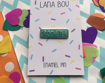 Teal Crocheter Enamel Pin