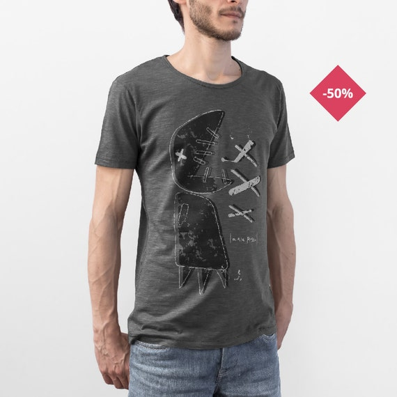 Man Graphic tee Printed t shirt Organic Slub Cotton Anthracite  - Big ...