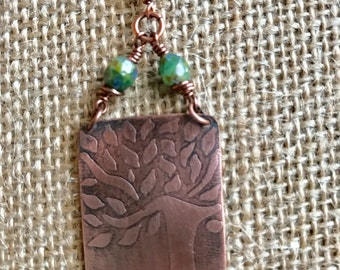 Etched copper tree pendant with natural green glass beads on leather with handmade S hook clasp