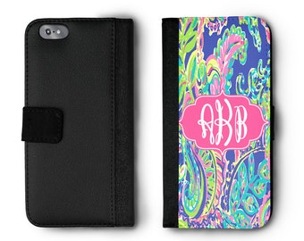 Monogram Phone Case, Lilly Inspired Phone Case, iPhone Wallet Case, Personalized Phone Folio, Wallet Case, iPhone 4 4s 5 5s 5c 6 6s 6s+ 7 7+