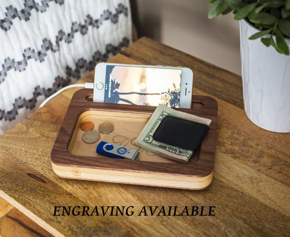Night Stand Valet Charging Station Mens Personalized Gifts