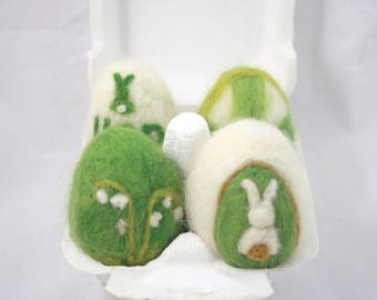 "Collection of Wool ""Sheep Eggs"", Shades of green and white, Needle felted Easter Eggs"
