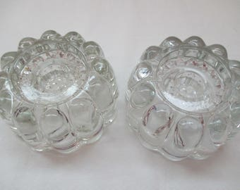 "Vintage Princess House, Set of 2, Crystal, Candle Holders for Taper, Pillar, or Votive Candles in Heritage Ribbed Pattern. 1980""s"