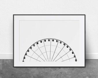 Ferris Wheel, Architectural Print, Printable Art, Black and White Photography, Minimalist Art, Digital Download, Printable Wall Art, Modern