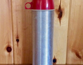 Insulated Thermos - Coffee Thermos - Hot and Cold Thermos - Vacuum Thermos - Silver Red Thermos - King Seeley Thermos - Aluminum Thermos