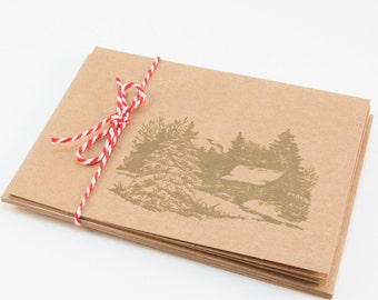 Cabin Blank Cards Folded Simple Masculine Set of 5 kraft paper green hand stamped teacher gift cards with envelope