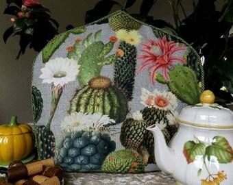 Tea Cosy with Cactus, Cactus Flower Tea Cozy, Floral Tea Cosy, Desert Tea Cosy, Tea Cosy with Plant, Theemuts met Cactussen