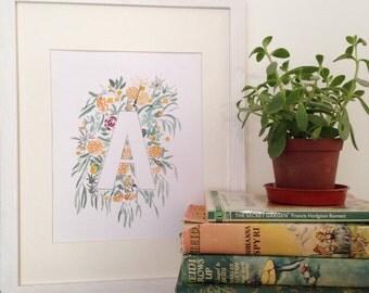 Floral Alphabet Letter Print, Monogram Wall Art, Flower Art, Personal Home Decor, New Baby Gift
