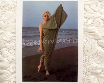 Marilyn Monroe on Beach with Towel Book Plate Photo Art Print Vintage Lithograph Hollywood Publicity Norma Jean Pinup Side 2 Black & White