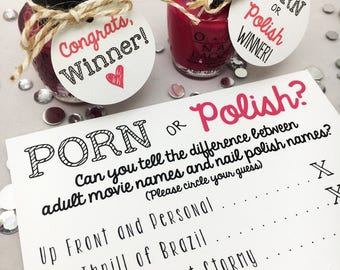 Porn or Polish | Porn or Poland | Unique Bachelorette Party Game | Bridal Shower Game | Favor Tags | INSTANT DOWNLOAD | Digital | Printable