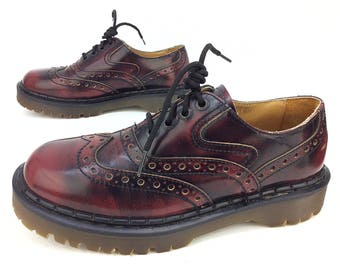 Dr. Martens Docs Wing Tip Brogue Red Brown Leather Lace Up Chunky Casual Dress Shoes Size. UK 9 US 10