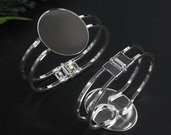10pieces 30x40mm(for the cabochon size )silver oval bezel trays cuff bracelets blanks Bracelets