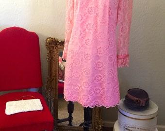 Vintage Pink Lace Shift Dress