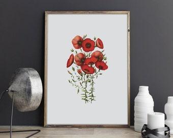 Flower print, flora poster, girl room poster, poster room, bedroom poster, garden poster, toilet poster, printable, red, flora, leaves, art