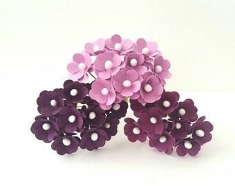 75 Small purple flowers / assorted purple paper flowers 10mm