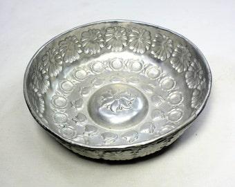 Antique - Vintage Copper Turkish bath bowl, Turkish Hamam bowl, Bathroom decor, Soap dish. Embossed motives, Turkish Handmade copper bowl