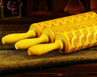 Patterned Embossing Rolling Pin SET, Engraved Wood Roller Stamp, Shell Ghost Embosser, Gift for Kids - EWRP350353354