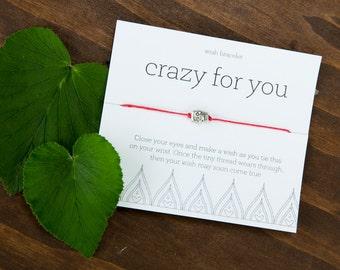 Crazy for You Wish Bracelet, Easy Boyfriend, Girlfriend Gift, Anniversary, Birthday Gift, Love gift, fiance gift, wife present, husband