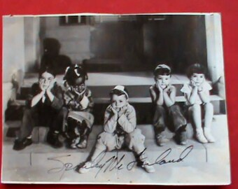Early Our Gang The Little Rascals photograph signed by Spanky Mcfarland Authentic