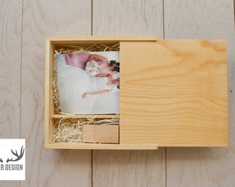 CLEARANCE: 1 X PINE Wooden 4x6 prints box and 8GB USB Set (Natural)
