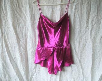 80s Purple Shiny Silky Peplum Waist Teddy