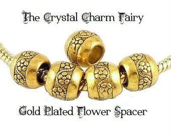 European Charm ~ FLOWER SPACER ~ Gold Plated Bead Big Hole Charm Fits Large Hole / European / PANDORA / Bracelets / Necklace