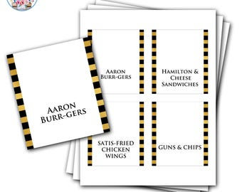 Hamilton Food Labels, Hamilton the Musical, Editable Hamilton Food Labels, Hamilton Birthday Party