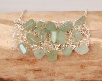 Gemstone bib necklace, green necklace, wire necklace, green aventurine, giftforher