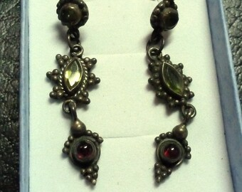 VINTAGE Ethnic Tribal Silver and Gemstone Earrings