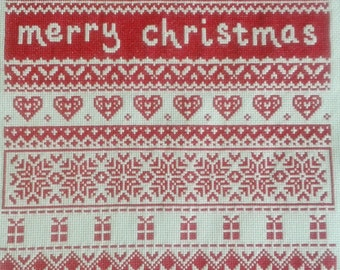 CHRISTMAS SAMPLER REDWORK Cross Stitch, Handstitched, Red, Merry Christmas