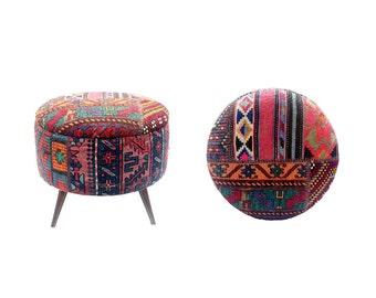 Boho Furniture, Kilim Ottoman, Antique Turkish Carpet, Upholstered Ottoman/IN STOCK