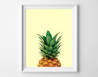 Pineapple Photo, Kitchen Art, Minimal Food Photo, Food Photography, Food Art, Food Poster, Prints for Kitchen, Pop-up Art