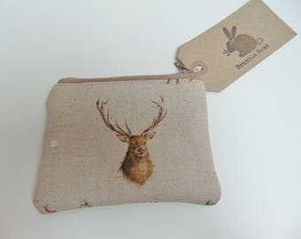 Handmade Stag Coin Purse, Wrendale Designs Fabric, Country Animals Deer Coin Wallet