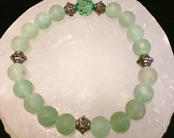 Matte Aventurine & Swarovski Crystal Healing Gemstone Bracelet