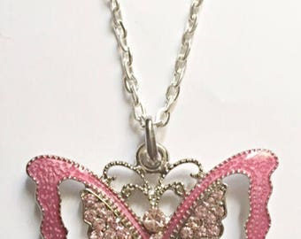 Raspberry Color Butterfly Pendant