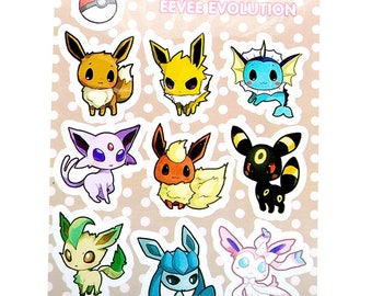 "SALE: Eevee Evolutions 3x4"" Kiss Cut Sticker Sheet"