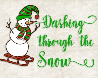 "Digital Design ""Dashing through the Snow"" Instant Download- Includes svg, png, jpeg, dxf, & eps formats."