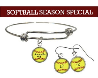 Softball Earrings, Bracelet, Personalized Name, Number, Sports Jewelry, Softball Mom Gift, Drop Earrings, Player,Mother's Day