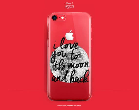 RED iPhone 7 Case RED iPhone 7 Plus Case Clear iPhone 6s Case iPhone 7 Plus Case RED Clear iPhone 7 Case Love Moon