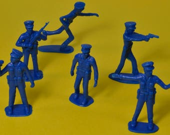 Blue Plastic Policemen, Assorted Miniature Police Officers, Police Figure Sets