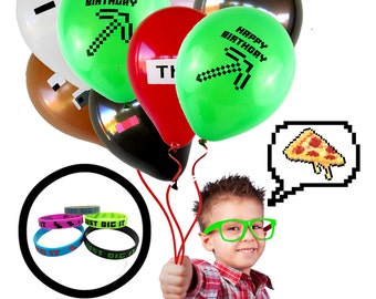 38 Piece - Miner Video Game Truck Birthday Party Balloons & Bracelets Bundle - Party Decor Kit